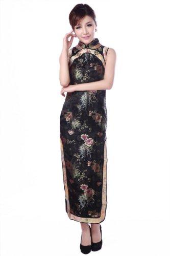 Longue robe sexy de Qipao longue sans manche dame de fleur Cheongsam