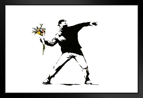 (Banksy Rage The Flower Thrower Framed Poster 20x14 inch)