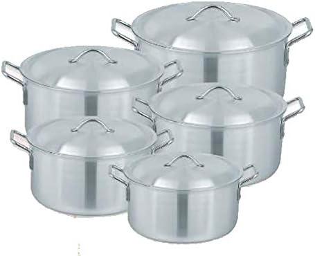 Porter and Lambert Lot de 5 casseroles professionnelles en aluminium de haute qualité avec couvercle résistant à la chaleur