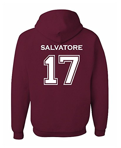 Adult Vampire Diaries Salvatore 17 2-Sided Hoodie (Small, Maroon)