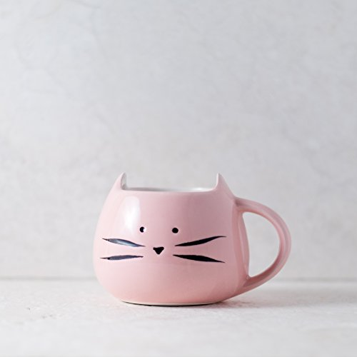 Ankit Pink Meow Kitty Ceramic 12 oz Pretty Cute Morning Hot & Cold Coffee Mug Fun Gift for Mom, Friend, Granny, Coworker, Girls, Friends, Daughter, Sister, Women