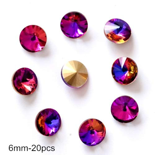 (Kamas 20pcs Glitter rhinestones 3D Nail Art Decorations Alloy Nail Charms, Nails Rhinestones Nail Supplies H0903 - (Color: round rivoli 6mm) )