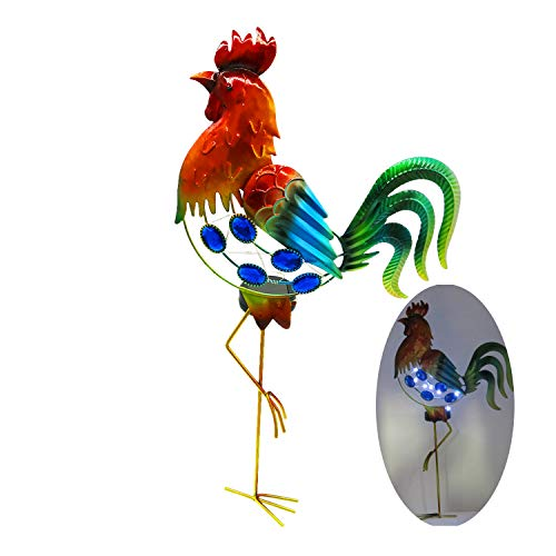 GDF Garden Solar Lights Outdoor,Solar Powered Stake Lights - Metal Rooster LED Decorative Garden Lights for Walkway,Pathway,Yard,Lawn