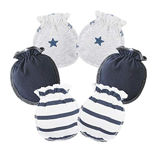 Price comparison product image HaloVa Baby Gloves,  0-3 months Newborn Infant Toddler Boys Girls No Scratch Mittens,  100% Cotton,  Soft and Comfortable,  Dark Blue