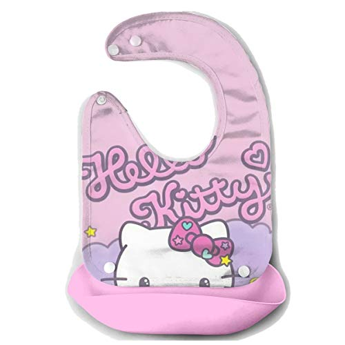 Baby Bib Hello Kitty Waterproof Feeding Bibs for Babies and Toddlers with Comfort-Fit Fabric Neck Pink ()