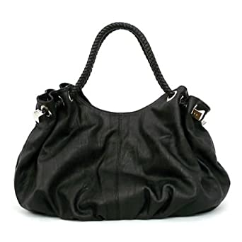 Oversized Satchel/Handbag with Braided handles - Black: Handbags ...