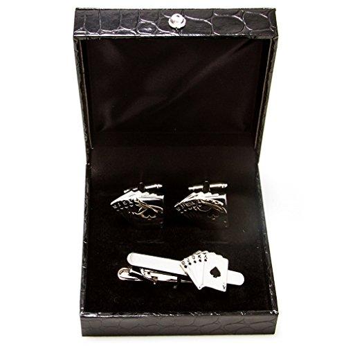 - MRCUFF Royal Straight Flush Poker Ace - Ten Playing Cards Pair Cufflinks & Tie Bar Clip in Presentation Gift Box