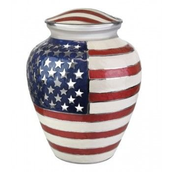 Ansons Urns Cremation Urn - Funeral Urn for Human Ashes - Large Adult Size Burial Urn - 100% Brass - Silver American Red White and Blue Flag Patriotic Veteran Urn