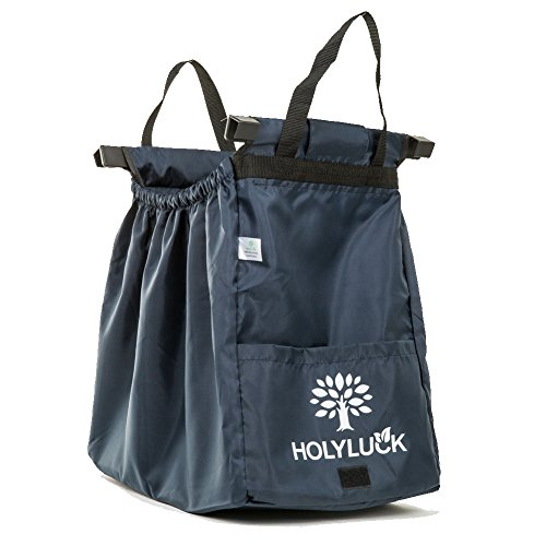 HOLYLUCK Large Capacity Reusable Grocery Bag Perfect For Shopping Cart - Detachable & Foldable (Navy Blue) (Navy Cart)