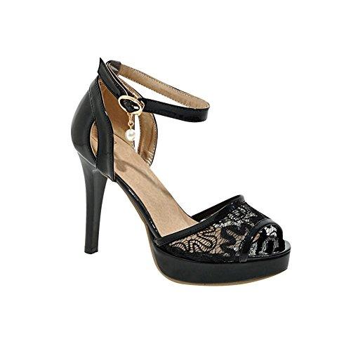 Chic Elegant Platform Sexy Heel Sandals Black Buckle Lace Dress High Women's Carolbar RUZawxqBg
