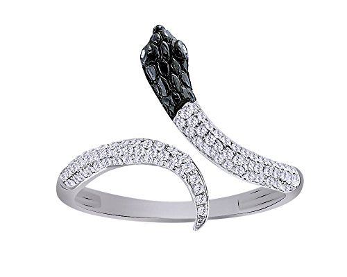 White Snake Ring Gold (1/4 CT Round Cut White Natural Diamond Snake Ring in 10K Solid Gold)