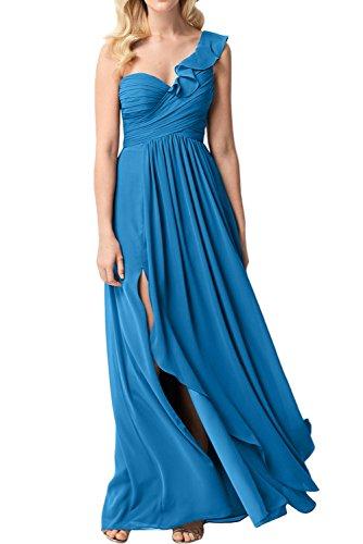 Linie Chiffon A Ivydressing Partykleid Elegant Linie Damen A Abendkleid Promkleid Blau Schulter Ein xHW8xqp
