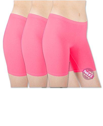 Hot Pink Spandex Shorts - Sexy Basics Womens 3 Pack Sheer & Sexy Cotton Spandex Boyshort Yoga Bike Shorts (Large - 7, 3 Pack - Hot Pink)