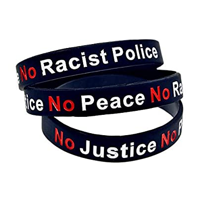Silicone Wristbands with Sayings No Justice Peace Racist Police Rubber Wristbands for Men Set Pieces Estimated Price £20.66 -