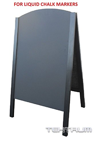 TEKTRUM LARGE DOUBLE-SIDE SIDEWALK A-FRAME WOOD SANDWICH SIGN BOARD 24.25' x 42' FOR SHOPS PUBS - LIQUID CHALK USE ONLY (Black)