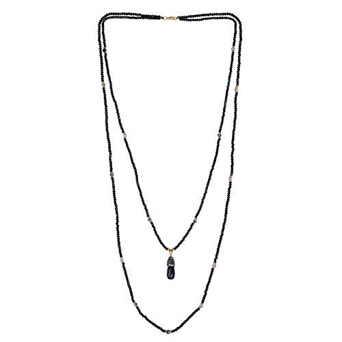 - KELITCH Crystal Pendant Necklace Handmade Long Double Layer Strand Beaded Necklace Women Boho (Black)