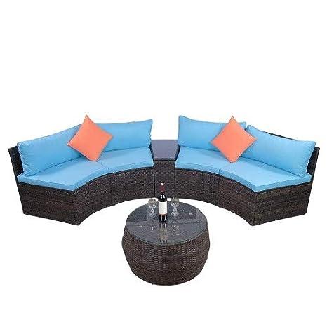 Awe Inspiring Amazon Com Simply Me 6 Pieces Rattan Patio Furniture Half Cjindustries Chair Design For Home Cjindustriesco