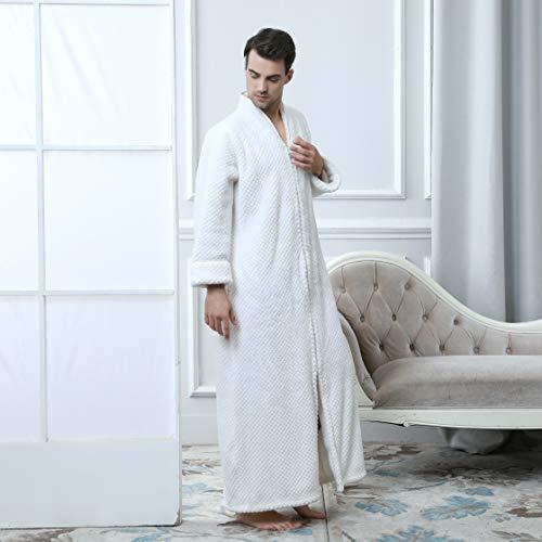 Dressing Men Zip Full Fluffy Bathrobe White Luxury Waffle Nightwear