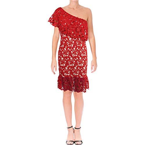 Aqua Womens Crochet Overlay Ruffled Cocktail Dress Red M