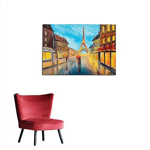 (kungfu Decoration Photographic Wallpaper Eiffel Tower,Couple with Umbrella on Historical Street to Eiffel Tower Paris Art,Orange Blue Brown Custom Poster W19.7 x)