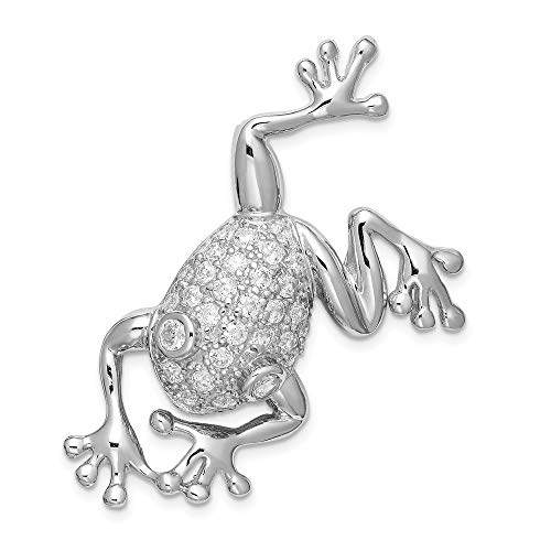 925 Sterling Silver Cubic Zirconia Frog Pin