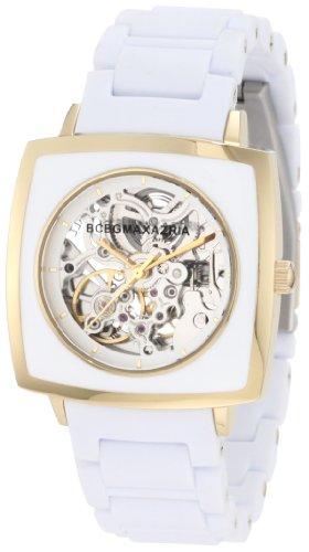 Amazon Lightning Deal 83% claimed: BCBGMAXAZRIA Women's BG8294 Elite Sport Auto Square Automatic Yellow Gold Bracelet Watch