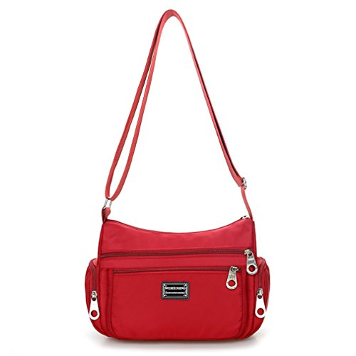 Shoulder Crossbody Bag Weekend Wine Red Lonson for Bag Handbag Shopping Women Nylon OUn1fq