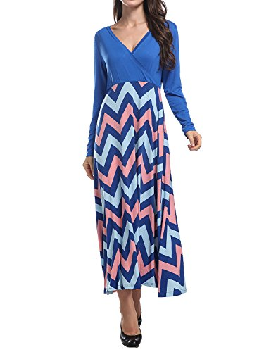 Hibelle Empire Waist Maxi Dress, Ladies Cross Plunge V-Neck Flared Bottom Patchwork Print Pattern Multiway Full Length Ruched Trapeze Beach Flirty Knitted Waterfall Outfit Blue L