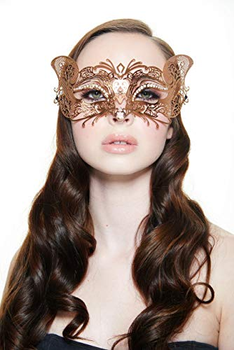 - Fox Style Metal Filigree Masquerade Halloween Mask (Rose Gold with Clear Rhinestones)