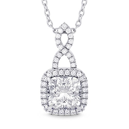 1.68Cts Colorless Diamond Drop Pendant Necklace Set in 18K White Gold (Diamond Drop 18k White Gold Necklace)