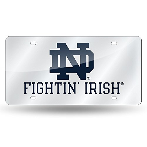 Rico Industries NCAA Notre Dame Fighting Irish Laser Inlaid Metal License Plate Tag, Silver