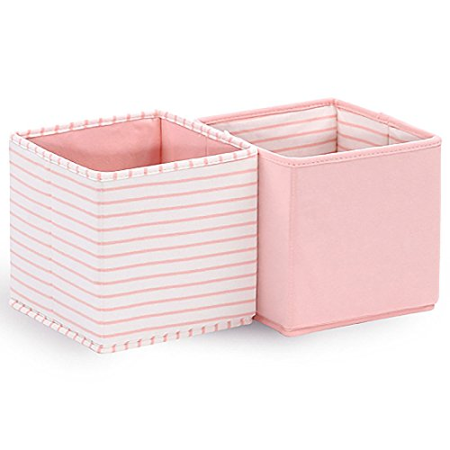Baby Nursery Storage Cloth Totes/Bins 2-Pack in White and Coral Pink Stripes and Solids - 7 Inch Collapsible Foldable Fabric Cubes for Nursery, Home, or Office Organizer