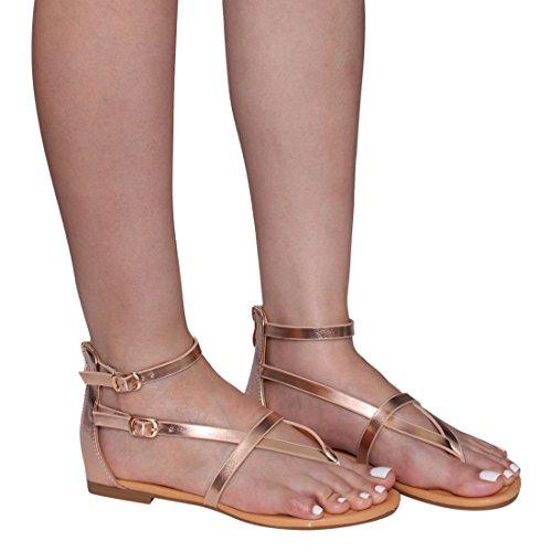 Beston De16 Kvinners V-rem Tanga Flat Gladiator Sandaler Kjøre En Størrelse Liten Rose Gull