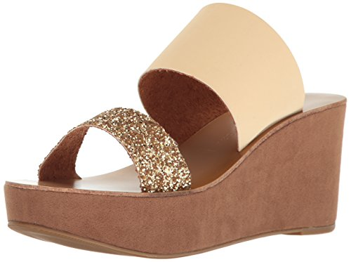 Chinese Laundry Women's Ollie Wedge Slide Sandal, Gold Glitter/Sand, 6 M US (Band Wedge Slides)