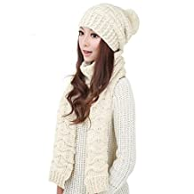 Changeshopping Fashion Women Warm Woolen Knit Hood Scarf Shawl Caps Hats Suit