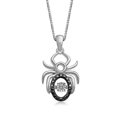- Jewelili Sterling Silver Black and White Diamond Spider Pendant Necklace, 1/10cttw. 18''