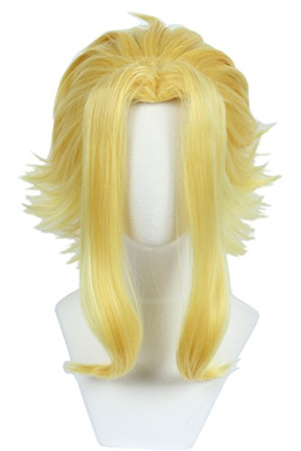 Linfairy Short Blonde Layered Cosplay Wig Halloween Costume Party Wig for Men ()