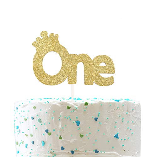 One with Crow Cake Topper, One Year Old Birthday, 1st First Birthday Cake Topper, Baby Shower Party DecorationsDouble Sided Gold Glitter)