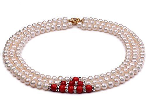 JYX Pearl Choker Triple Strand Necklace AA Quality 6-7mm White Freshwater Pearl and Red Coral Necklace 15.5-17.5inch