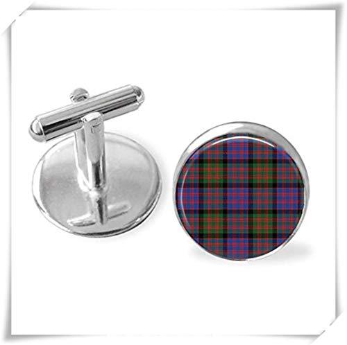 Pink rose Macdonald Tartan Cufflinks, Scottish Tartan Cuff Links , Tartan Jewelry ,Personalized Gift , Ancestral Jewelry
