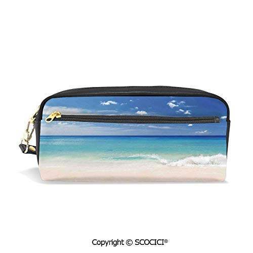 Students PU Pencil Case Pouch Women Purse Wallet Bag Tropical Haven Style Sandy Shore and Sea with Waves Escape to Paradise Theme Waterproof Large Capacity Hand Mini Cosmetic Makeup Bag (Leather Epi Billfold)