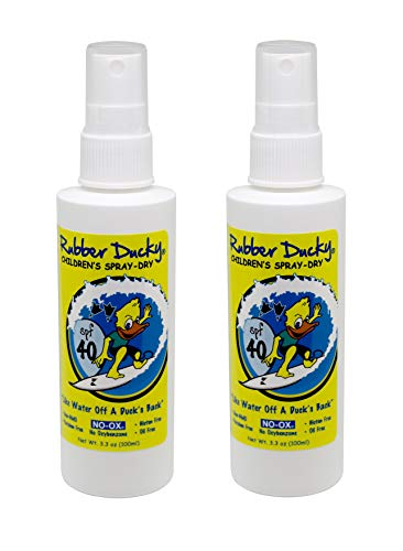 Rubber Ducky - SPF 40 children's spray-dry Sunscreen, oil-free, no-ox, reef-safe, oxybenzone-free, ocean scent - 3.3 ounce spray - set of 2