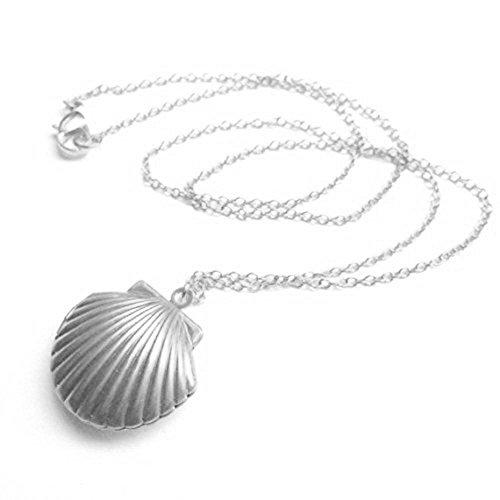 - Adecco LLC Sea Shell Locket, Mermaid Valentine Necklace, Beach Locket, Gold Tone Brass, Little Shell Locket, Nautical Jewelry (Silver)