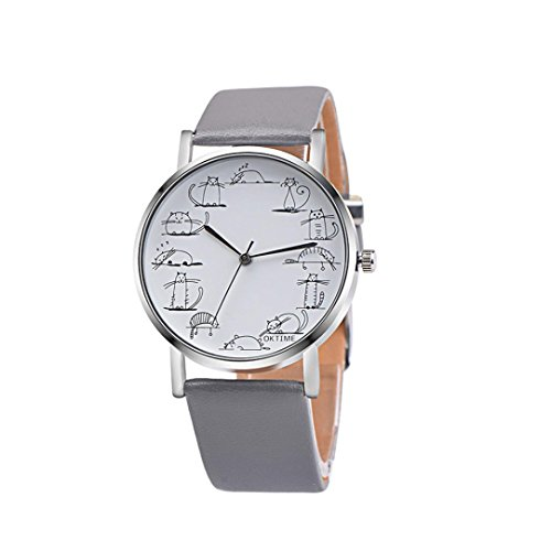 - Start Unisex Women's Stick Figure Cartoon Cat Leather Band Wrist Watch Bracelet (Gray)