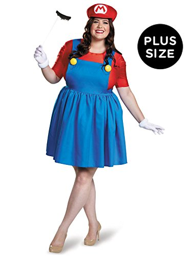 Luigi Costume Womens (Disguise Women's Mario Skirt Version Adult Costume, Red/Blue,)