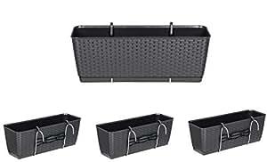 Set de 4 jardineras en diseño de ratán con almacenamiento de agua integrado y soportes de metal para barandillas de todo tipo o para poner de pie, tamaño: 50x 17,2x 17,4cm, color antracita