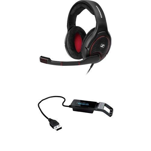(Sennheiser GAME ONE PC Gaming Headset - Black & Sennheiser Sound Card Adaptor for Gaming Headsets Bundle)