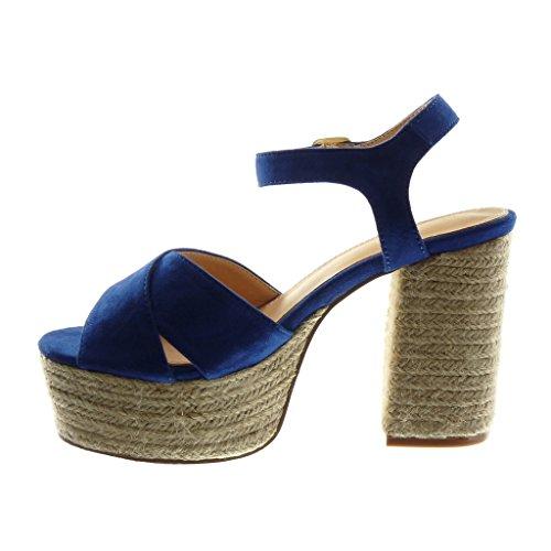 Angkorly Zapatillas Moda Sandalias Mules Correa de Tobillo Plataforma Mujer Cuerda Tanga Hebilla Tacón Ancho Alto 11 cm Azul