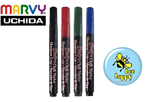 Set of 4 (Blue, Black, Red, Green) 3mm Fine Point Marvy Bistro Chalk Markers ( Uchida of America) Open - America Open Of Mall