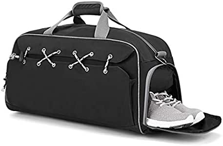 Fomatrade Sports Gym Duffel Bag Waterproof Large Outdoor Travel Holdall Overnight Weekender Luggage Bag Shoes Compartment Men Women (Black) (Black, 44)